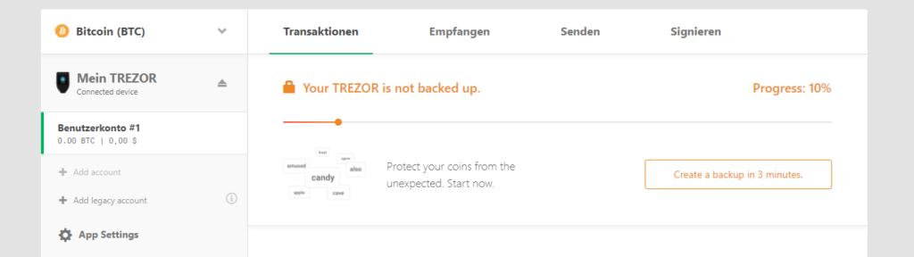 backup trezor model t